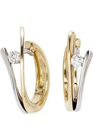 Jobo Paar Creolen, 585 bicolor mit 2 Diamanten