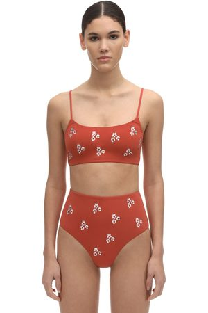 Anemone Embroidered Lycra Tankini Top