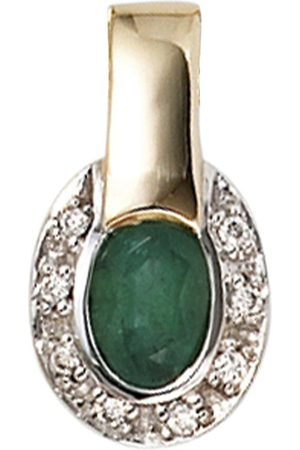Jobo Kettenanhänger, oval 585 bicolor mit 8 Diamanten und Smaragd