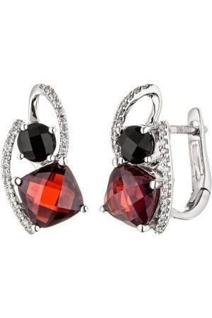 JOBO Paar Creolen, 585 Weiß mit 48 Diamanten Granat Onyx