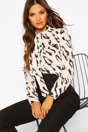 Boohoo Womens Web-Bluse mit Schleife und Animal-Print - - 34