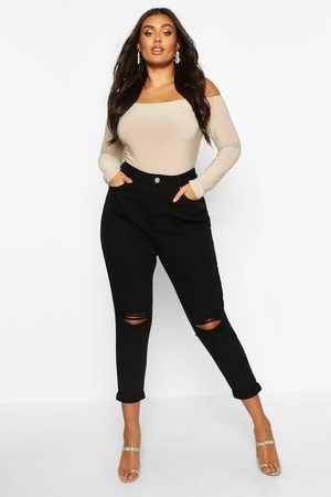 Boohoo Damen Baggy & Boyfriend - Womens Plus High-Waist Mom-Jeans Mit Zerrissenen Knien - - 42