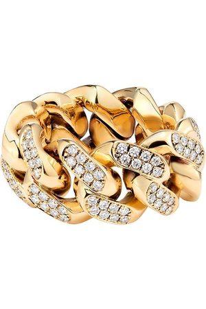 777 Cuban' Gelbgoldring mit Diamanten
