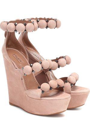 Alaïa Wedge-Sandalen aus Veloursleder
