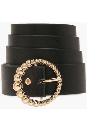 Boohoo Damen Gürtel - Womens Goldener Gürtel Mit Runder Schnalle Und Perlen - - One Size