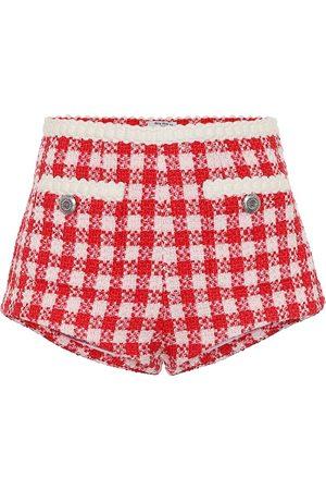 Miu Miu Karierte Shorts aus Tweed