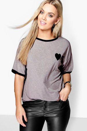Boohoo Womens Plus T-Shirt mit schmalen Saumborten und Herz-Print - - 42