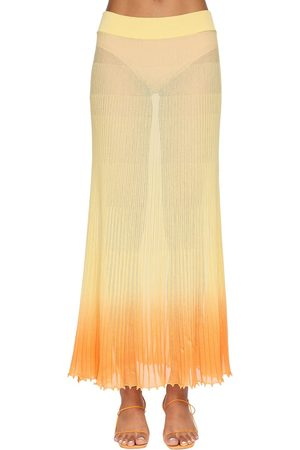 Jacquemus Gradient Plisse Sheer Knit Midi Skirt