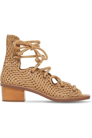 Stella McCartney 40mm Woven Faux Leather Lace-up Sandals