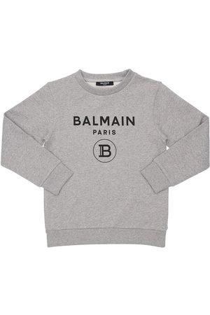 Balmain Sweatshirt Aus Baumwolle Mit Logodruck