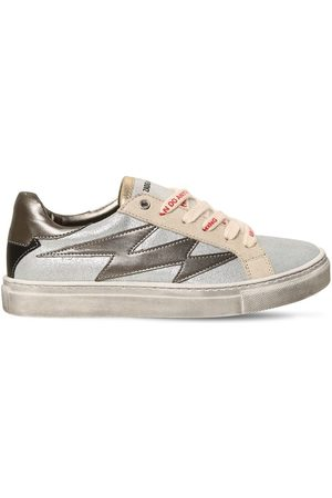 Zadig & Voltaire Glittered Leather Lace-up Sneakers