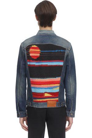 Alanui Sarape Knit Patch Cotton Denim Jacket