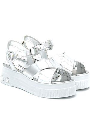 Miu Miu Damen Sandalen - Sandalen aus Metallic-Leder