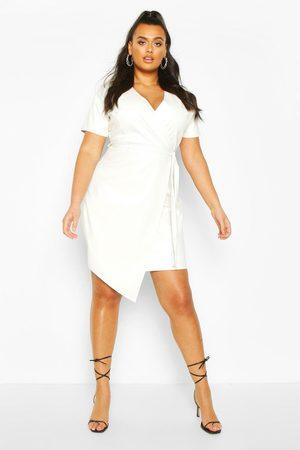 Boohoo Womens Plus Leather Look Wrap Dress - - 42