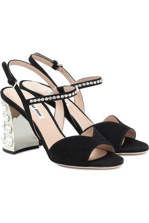 Miu Miu Verzierte Sandalen aus Veloursleder