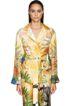 F.R.S For Restless Sleepers Jungle Print Silk Twill Wrap Shirt