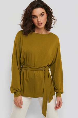 NA-KD Long Sleeve Belted Top - Green