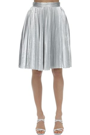 pushBUTTON Damen Faltenröcke - Plisse Metallic Skirt