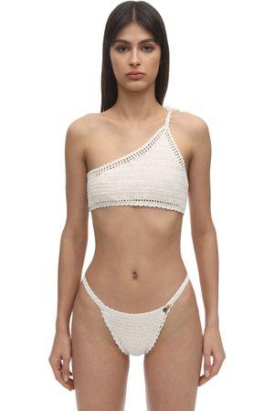 She Made Me One Shoulder Crochet Bikini Top