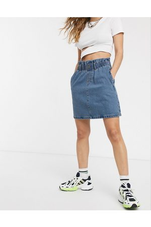 Noisy May – Jeans-Minirock mit Paperbag-Taille in