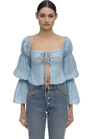 Cult Gaia Claire Draped Linen Shirt