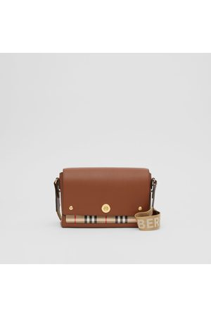"Burberry Damen Clutches - Crossbody-Tasche Note"" aus Leder und Vintage Check-Gewebe, Brown"