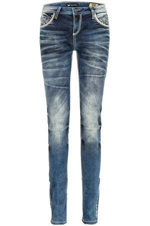 Cipo & Baxx Slim-fit-Jeans mit bestickten Taschen