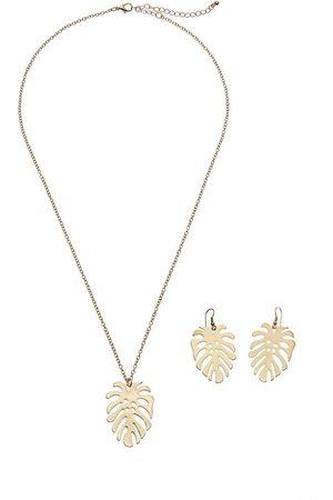 Lascana Schmuckset, Kette und Ohrringe mit Palmenblatt
