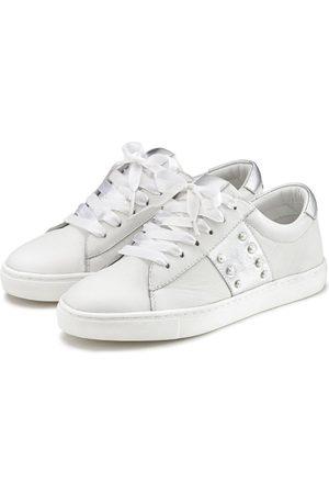 Lascana Damen Sneakers - Sneaker aus weichem Leder mit Metallic-Einsätzen