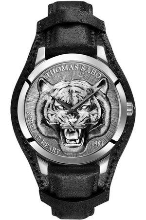 Thomas Sabo Quarzuhr »Rebel Tiger 3D - , WA0367-203-201-42 mm«, (Set, 2-tlg., mit abnehmbarem Lederband)