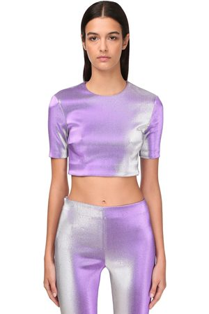 AREA Stretch Lamé Crop Top