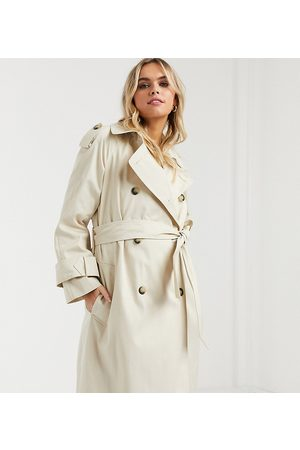 ASOS Damen Trenchcoats - ASOS DESIGN Maternity – Langer Trenchcoat in Stone