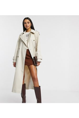 ASOS ASOS DESIGN Tall – Langer Trenchcoat in Stone