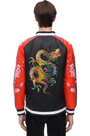 MINIMAL Herren Bomberjacken - Color Block Dragon Print Bomber Jacket