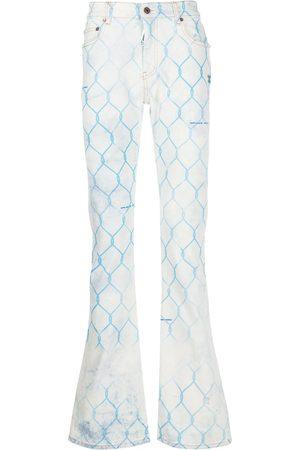 Off-White Herren Bootcut - Jeans mit Zaun-Print
