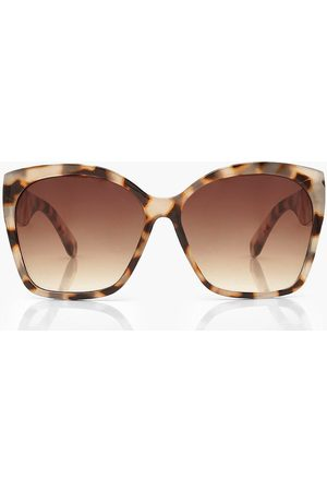 Boohoo Damen Sonnenbrillen - Womens Oversized Sonnenbrille In Schildpatt-Optik - - One Size