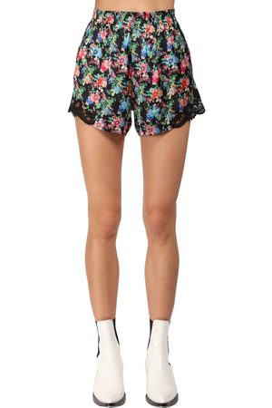 Paco rabanne Flower Print Light Satin & Lace Shorts