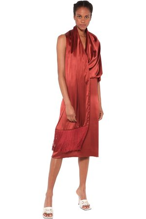 DODO BAR OR Elle Silk Satin Midi Dress W/ Shawl