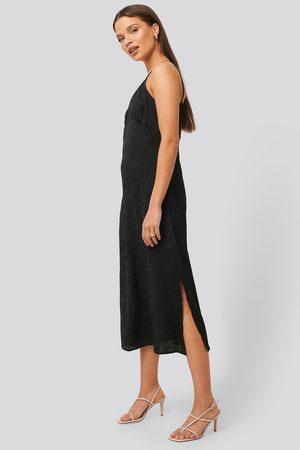 NA-KD Satin Wrinkle Dress - Black