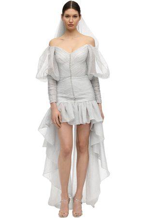 Sandra Mansour Ruffled Lurex Pinstriped Organza Dress