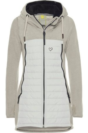 alife kickin Damen Outdoorjacken - Outdoorjacke »CharliAK« warme Longjacke im Fleece-Downlook-Style, Materialmix
