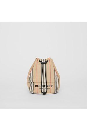 Burberry Beuteltasche aus Nylon mit Streifenmuster und Zugbandverschluss