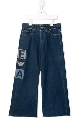 Emporio Armani Cropped - Weite Jeans mit Logo-Patches