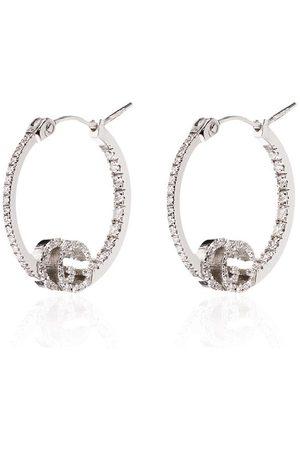 Gucci 18kt 'Running' Weißgoldcreolen mit Diamanten