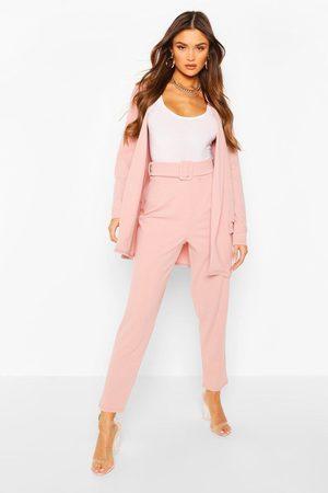 Boohoo Damen Anzüge - Womens Anzug-Set Mit Eng Anliegendem Blazer Und Hose Mit Gürtel Aus Dem Gleichen Material - - 34