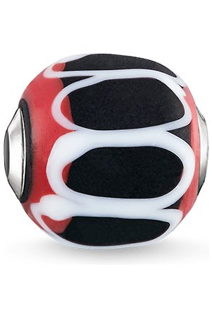 Thomas Sabo Bead Glas-Bead Schwarz, Rot, Weiß