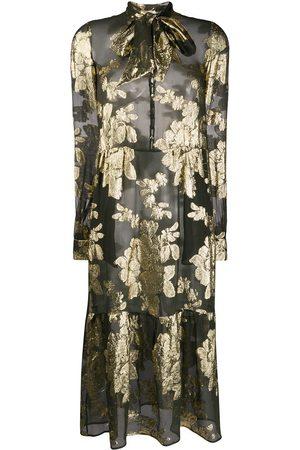 Saint Laurent Brokat-Kleid mit Blumenmuster