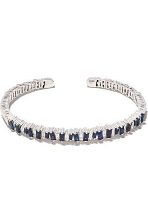 Suzanne Kalan Damen Armbänder - 18kt 'Flexible' Weißgoldarmspange mit Saphiren, Diamanten