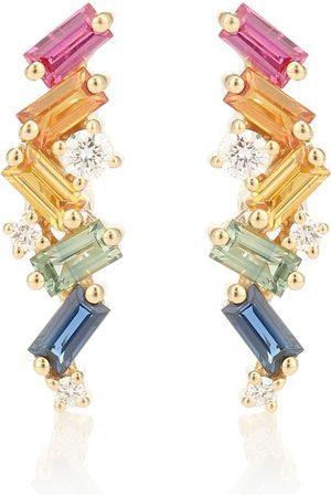 Suzanne Kalan Ohrringe Rainbow Fireworks aus 18kt Gelbgold mit Saphiren und Diamanten