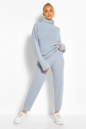 Boohoo Damen Jogginganzüge - Womens Roll/Polo Neck Knitted Jogger Lounge Set - - S